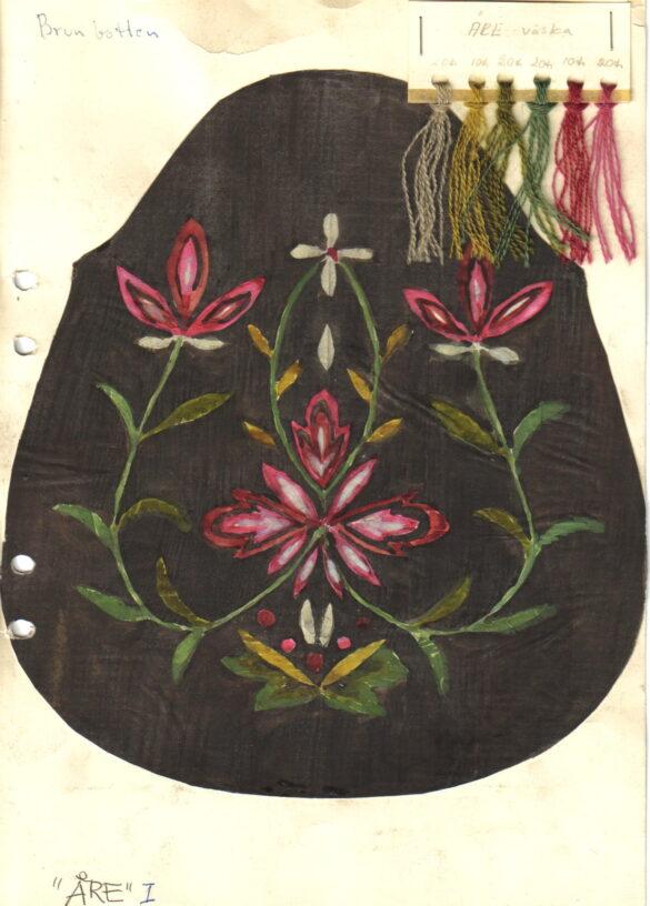Åre sockendräkt kjolväska skiss.