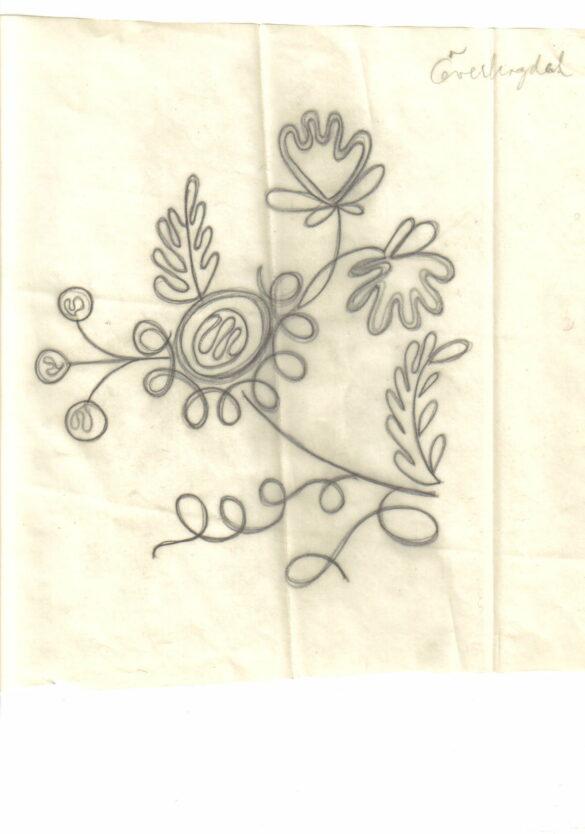 Överhogdal sockendräkt bindmössa skiss