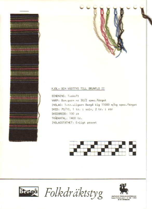 Brunflo sockendräkt kjol livstycke vävprov.