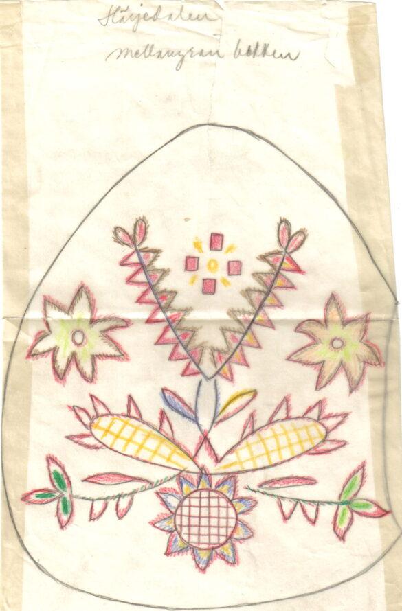 Härjedalen sockendräkt kjolväska skiss