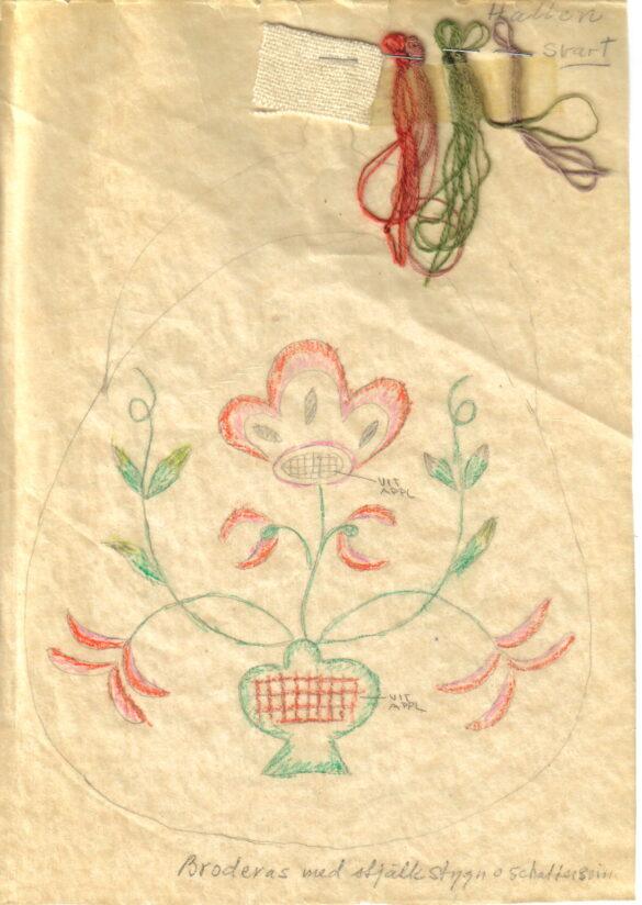Hallens sockendräkt kjolväska skiss