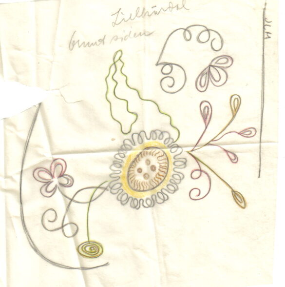 Lillhärdal sockendräkt bindmössa skiss