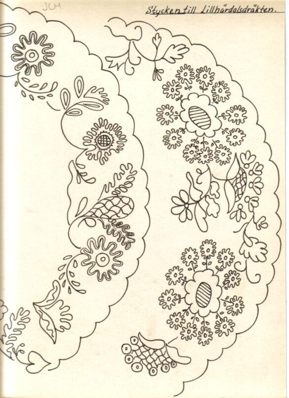 Lillhärdal sockendräkt stycke skiss
