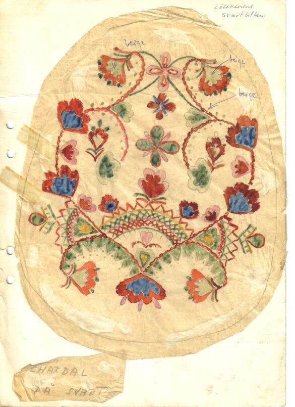 Lillhärdal sockendräkt kjolväska skiss