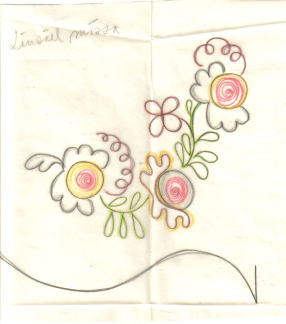 Linsell sockendräkt bindmössa skiss