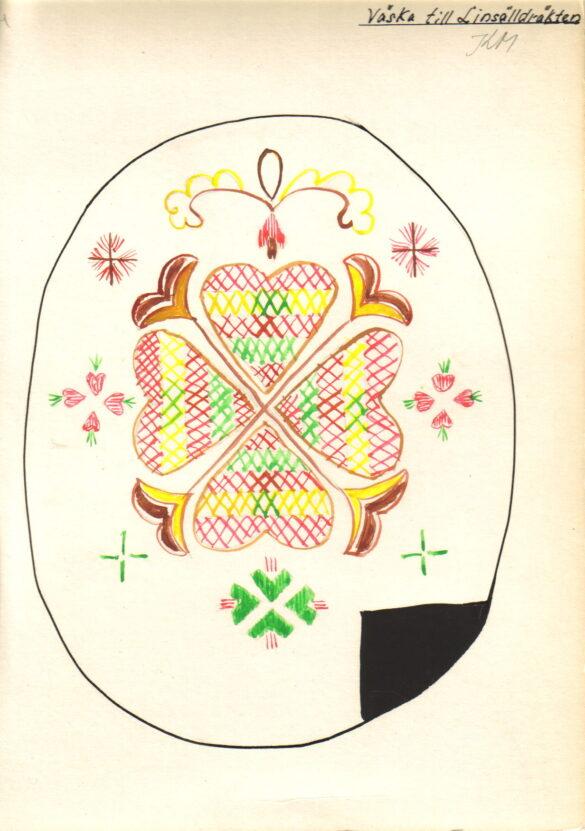 Linsell sockendräkt kjolväska skiss