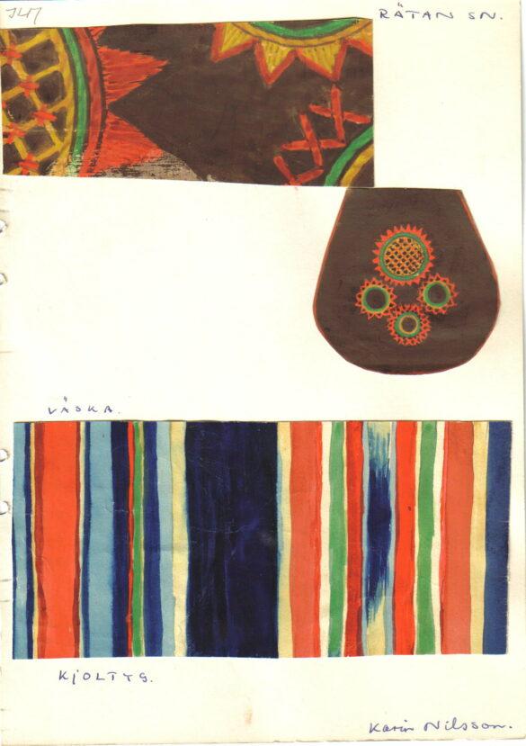 Rätan sockendräkt kjolväska skiss