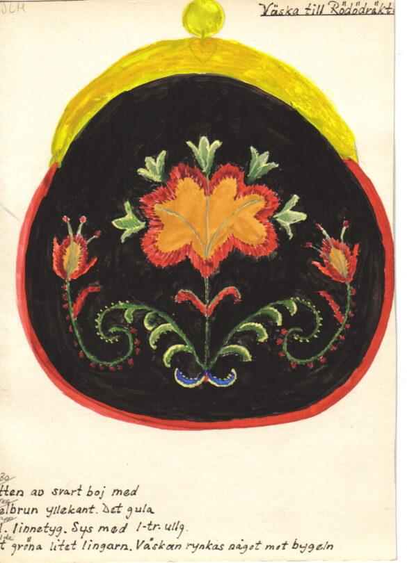 Rödön sockendräkt kjolväska skiss