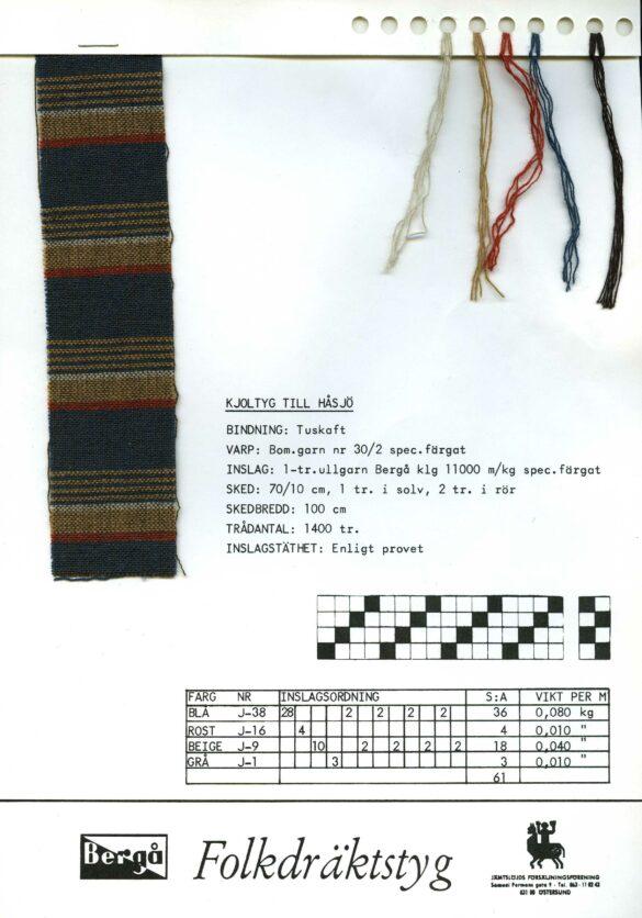 Håsjö sockendräkt kjol tygprov