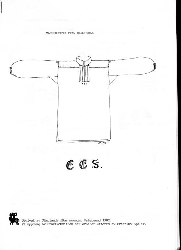 Hammerdals sockendräkt mansskjorta skiss