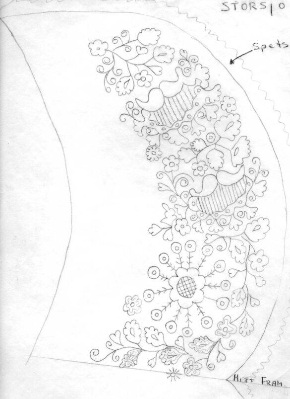 Ljungdalen sockendräkt stycke skiss