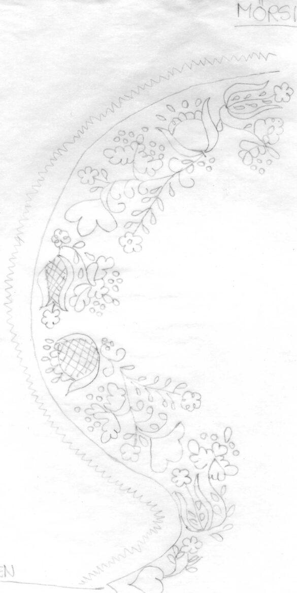 Mörsil sockendräkt stycke skiss
