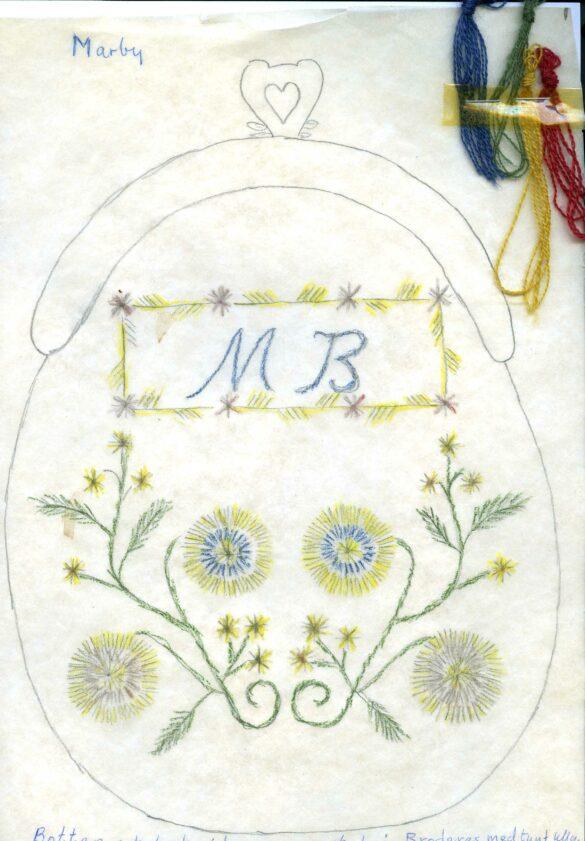 Marby sockendräkt kjolväska mönster