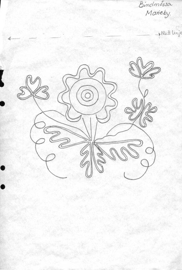 Marieby sockendräkt bindmössa mönster