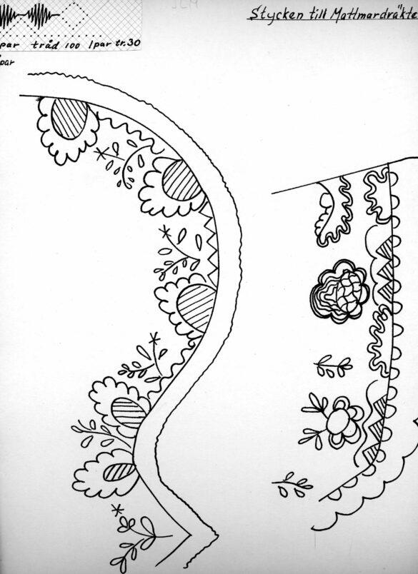 Mattmar sockendräkt stycke mönster