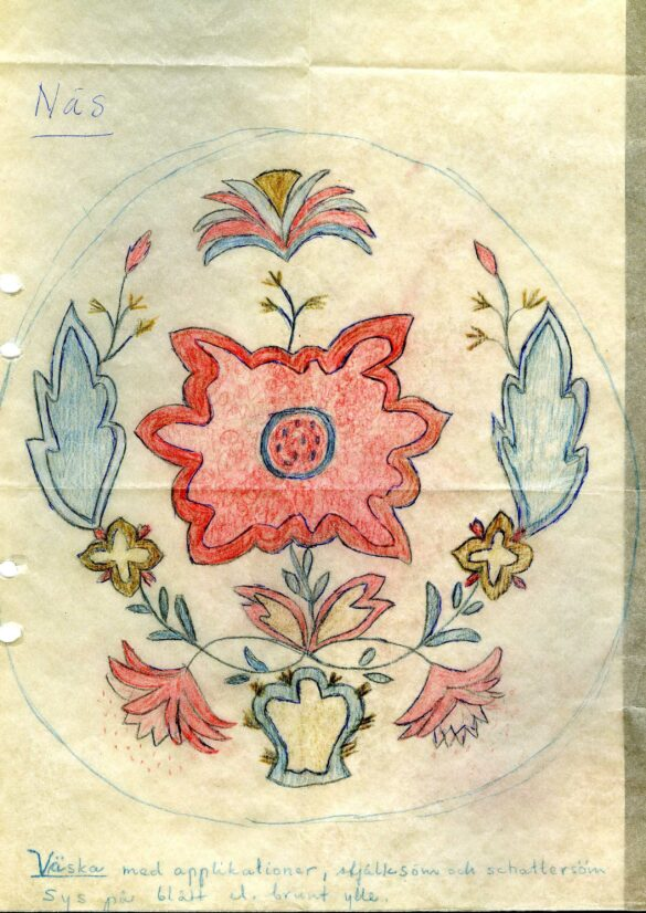 Näs sockendräkt kjolväska mönster