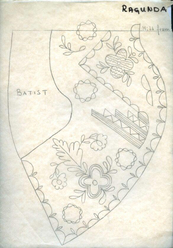 Ragunda sockendräkt stycke skiss
