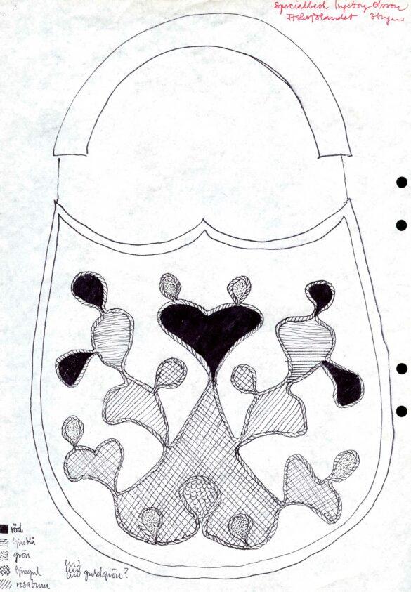 Stugun sockendräkt kjolväska skiss